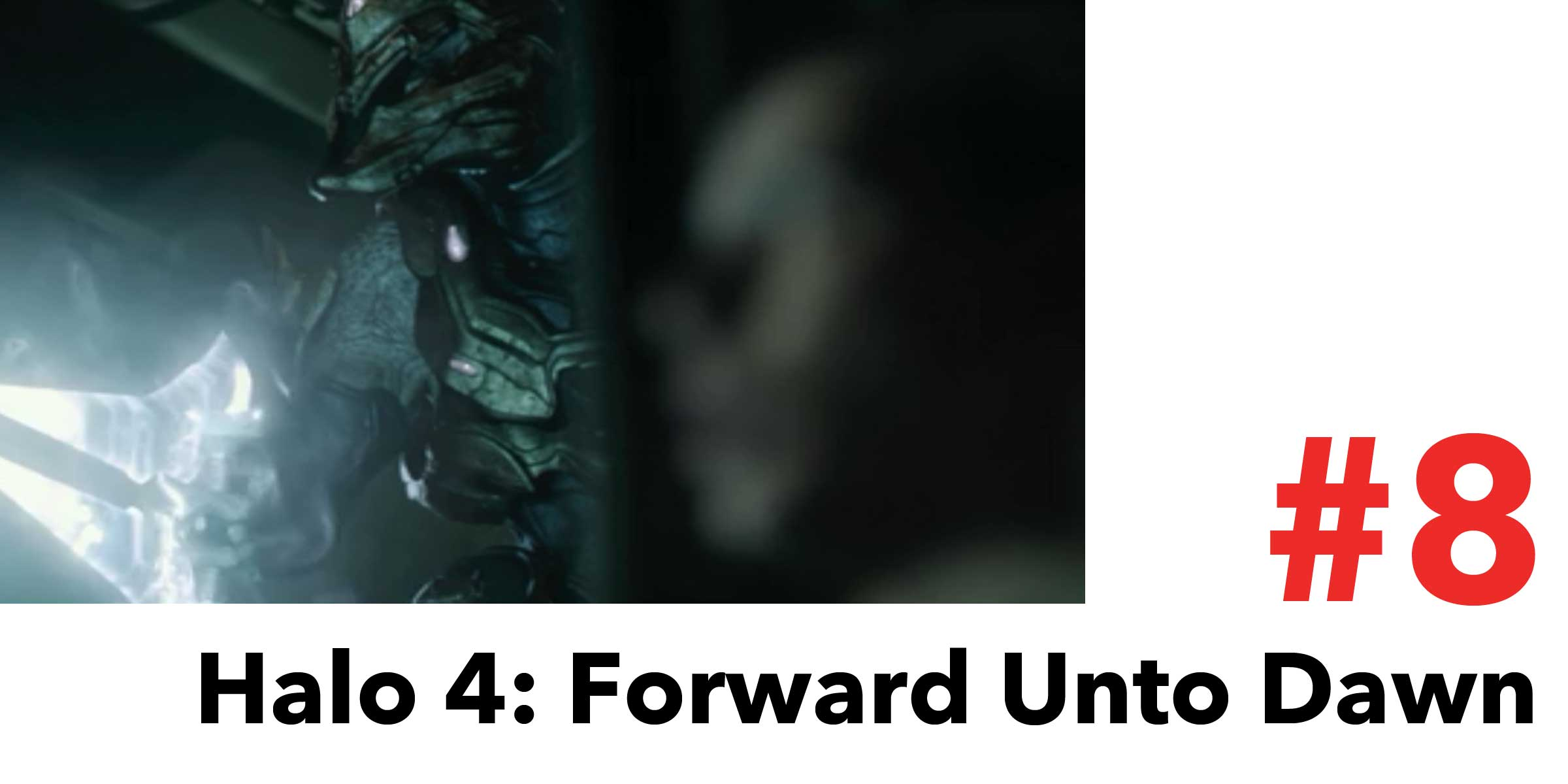 Halo 4: Forward Unto Dawn is #8 in the Top 10 Post Apocalyptic Movies on Netflix. Pictured, an alien Elite, aka Sangheili, stalks a group of humans with his energy sword.