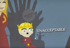 king joffrey sits the iron throne and scream unacceptable