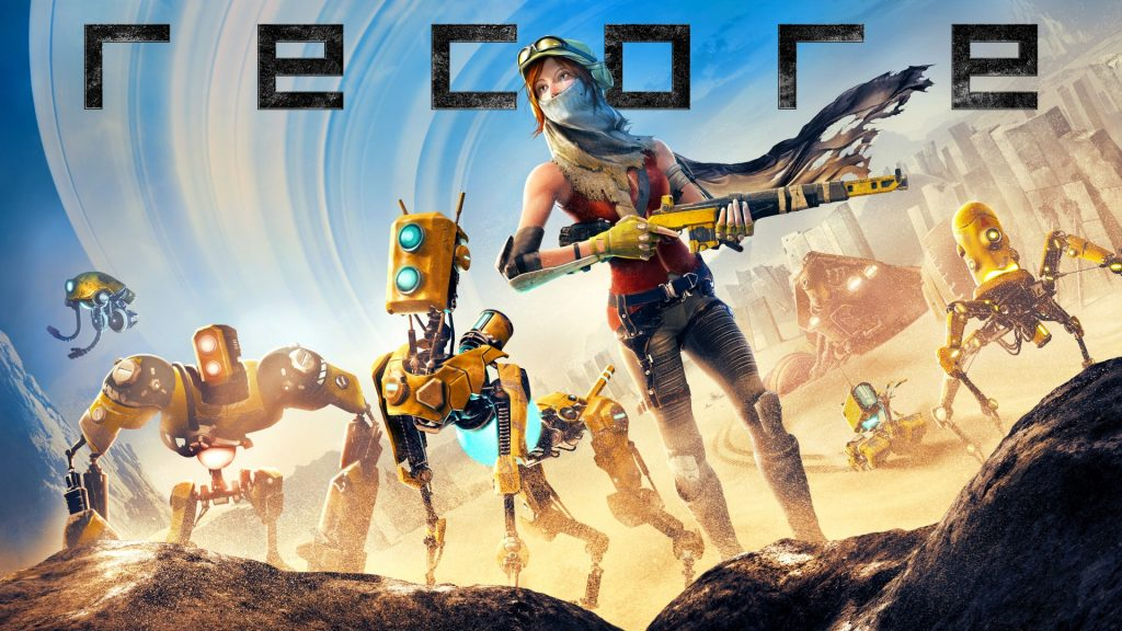 a woman in a wasteland with several robot allies