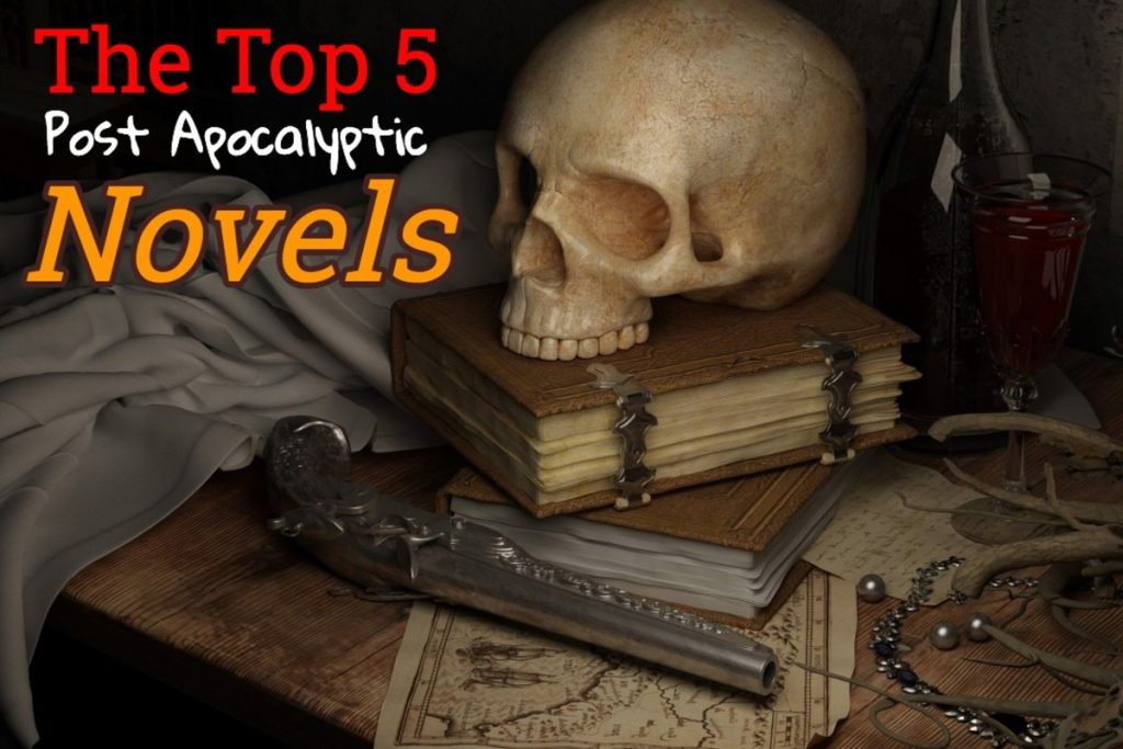 a skull sits on a pile of books